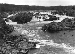 Long view of Great Falls of the Potomac River
